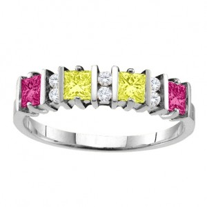 Personalised Echo 26 Princess Cut Stones Ring With Accents - Custom Made By Yaffie™