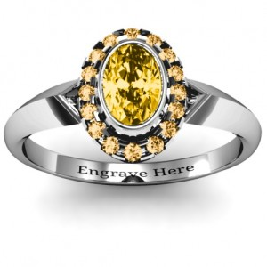 Personalised Royal Bezel Set Oval Cluster Ring - Custom Made By Yaffie™