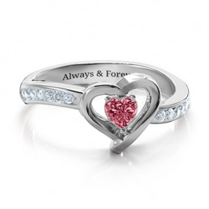 Personalised Falling For You Accented Heart Ring - Custom Made By Yaffie™