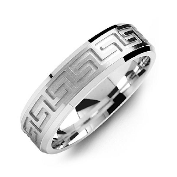Personalised Greek Key Eternity Grooved Men's Ring - Custom Made By Yaffie™