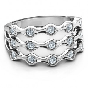 Personalised 3 Row Fashion Wave Ring - Custom Made By Yaffie™