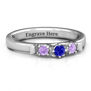 Personalised 3Stone Ring with Heart Gallery - Custom Made By Yaffie™