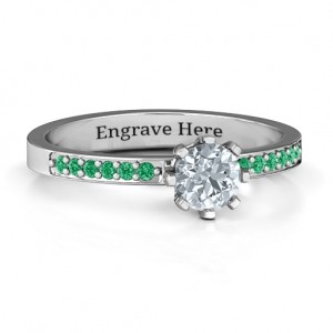 Personalised 8 Prong Solitaire Set Ring with Twin Channel Accent Rows - Custom Made By Yaffie™