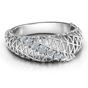 Personalised 9 Stone Geometric Mesh Ring - Custom Made By Yaffie™