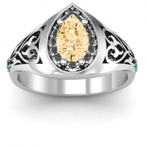 Personalised Aphrodite Ring with Side Gems - Custom Made By Yaffie™