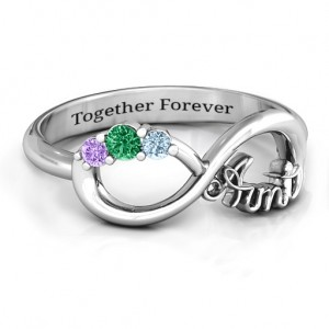 Personalised Aunt's Infinite Love Ring with Stones - Custom Made By Yaffie™
