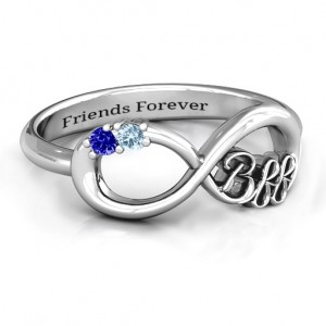 Personalised BFF Friendship Infinity Ring with 2 7 Stones - Custom Made By Yaffie™
