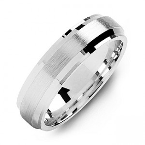 Personalised Beveled Edge Men's Ring with Brushed Centre - Custom Made By Yaffie™