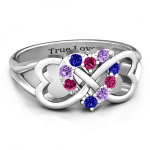 Personalised Birthstone Triple Heart Infinity Ring - Custom Made By Yaffie™