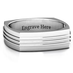 Personalised Bridge Grooved Squareshaped Men's Ring - Custom Made By Yaffie™