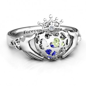 Personalised Caged Hearts Claddagh Ring - Custom Made By Yaffie™