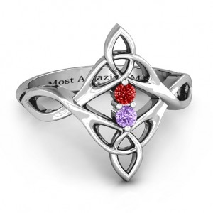 Personalised Celtic Sparkle Ring with Interwoven Infinity Band - Custom Made By Yaffie™