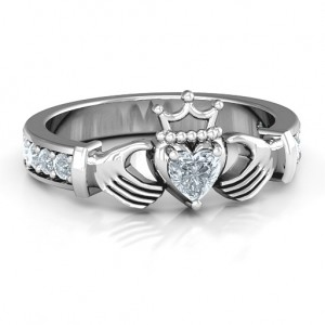 Personalised Classic Claddagh Heart Cut Ring with Accents - Custom Made By Yaffie™