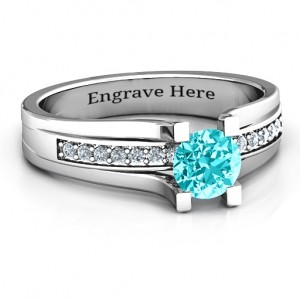 Personalised Column Set Solitaire Ring - Custom Made By Yaffie™
