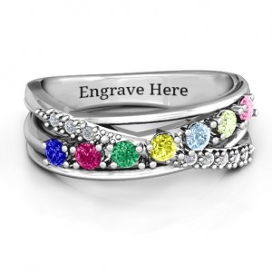 Personalised Crossover Accent Multi Band Ring - Custom Made By Yaffie™