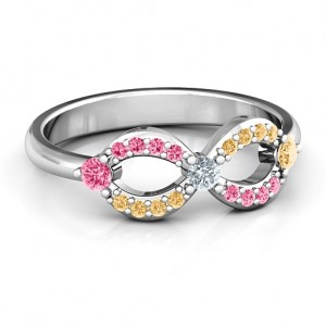 Personalised Dazzling Infinity Ring with Accents - Custom Made By Yaffie™