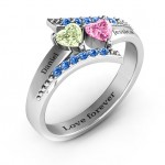Personalised Diagonal Dream Ring With Heart Stones - Custom Made By Yaffie™