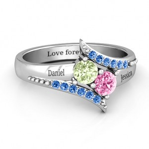 Personalised Diagonal Dream Ring With Round Stones - Custom Made By Yaffie™
