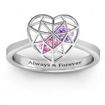 Personalised Diamond Heart Cage Ring With Encased Heart Stones - Custom Made By Yaffie™
