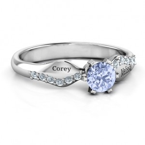 Personalised Dimpled Solitaire with Accents Ring - Custom Made By Yaffie™