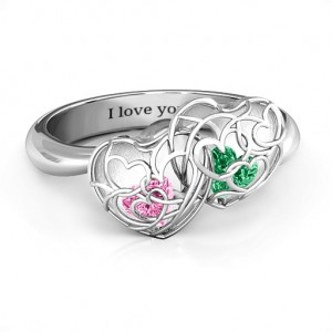Personalised Double Heart Cage Ring with 16 Heart Shaped Birthstones - Custom Made By Yaffie™