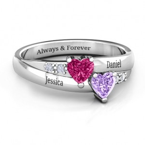Personalised Double Heart Gemstone Ring with Accents - Custom Made By Yaffie™