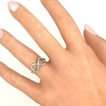 Personalised Double Heart Infinity Ring with Accents - Custom Made By Yaffie™