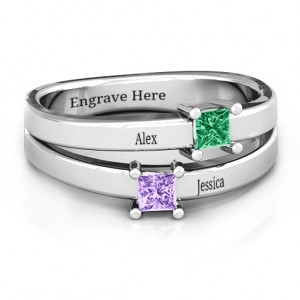 Personalised Double Princess Cut Ring - Custom Made By Yaffie™