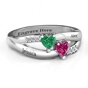 Personalised Dual Hearts with Accents Ring - Custom Made By Yaffie™