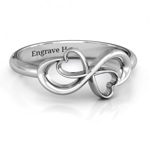 Personalised Duo of Hearts Infinity Ring - Custom Made By Yaffie™