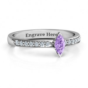 Personalised Elegant Marquise with Accent Band Ring - Custom Made By Yaffie™