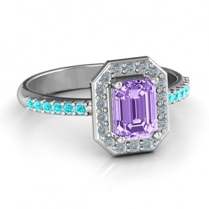 Personalised Emerald Cut Cocktail Ring with Halo - Custom Made By Yaffie™