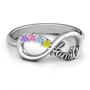 Personalised Family Infinite Love with Stones Ring - Custom Made By Yaffie™