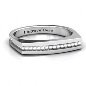 Personalised Fissure Beaded Groove Women's Ring - Custom Made By Yaffie™