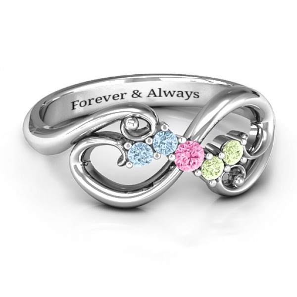 Personalised Flourish Infinity Ring with Gemstones - Custom Made By Yaffie™