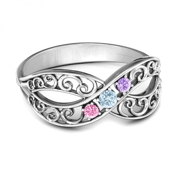 Personalised Forever Filigree Infinity Ring - Custom Made By Yaffie™