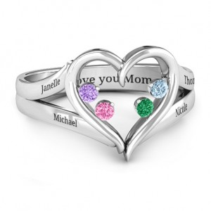 Personalised Forever In My Heart Birthstone Ring - Custom Made By Yaffie™