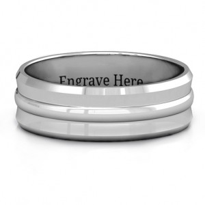 Personalised Forge Bevelled and Banded Men's Ring - Custom Made By Yaffie™