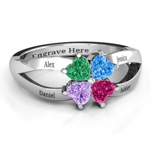 Personalised Four Clover Hearts Ring - Custom Made By Yaffie™
