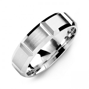 Personalised Grooved Men's Ring with Brushed Surface - Custom Made By Yaffie™