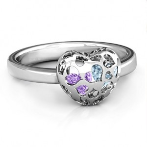 Personalised Heart Cutout Petite Caged Hearts Ring with Infinity Band - Custom Made By Yaffie™