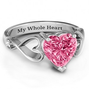 Personalised Heart Shaped Stone with Interwoven Heart Infinity Band Ring - Custom Made By Yaffie™