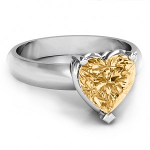Personalised Heart Stone in a Double Gallery Setting Ring - Custom Made By Yaffie™