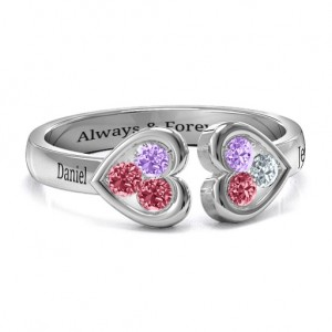 Personalised Heart To Heart Wraparound Ring - Custom Made By Yaffie™