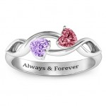 Personalised Heavenly Hearts Ring with Heart Gemstones - Custom Made By Yaffie™