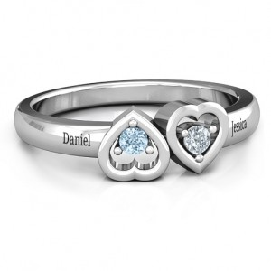 Personalised Inverted Kissing Hearts Ring - Custom Made By Yaffie™
