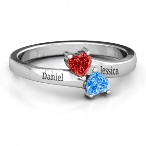 Personalised Inverted Twin Heart Ring - Custom Made By Yaffie™