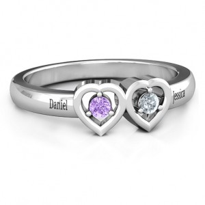 Personalised Kissing Hearts Ring - Custom Made By Yaffie™
