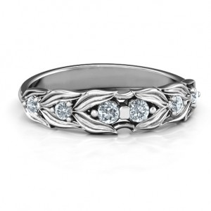 Personalised Leaves of Love 6 Stone Ring - Custom Made By Yaffie™