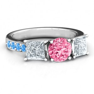 Personalised Majestic Three Stone Eternity with Twin Accents Ring - Custom Made By Yaffie™